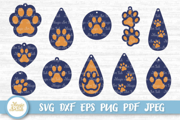 Download Free Paw Earrings Svgs Graphic By Magicartlab Creative Fabrica for Cricut Explore, Silhouette and other cutting machines.