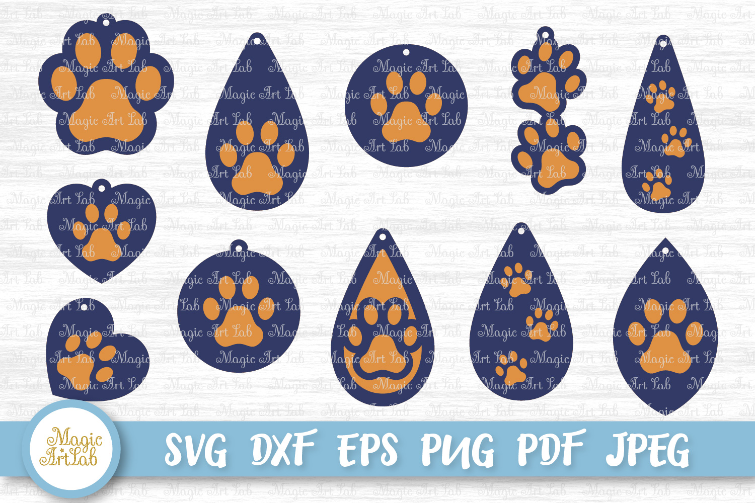 Download Free Paw Earrings Graphic By Magicartlab Creative Fabrica for Cricut Explore, Silhouette and other cutting machines.