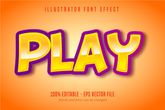 Download Free Play Text 3d Editable Font Effect Graphic By Mustafa Beksen for Cricut Explore, Silhouette and other cutting machines.