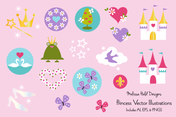 Princess Vector Graphics Graphic Illustrations By Melissa Held Designs