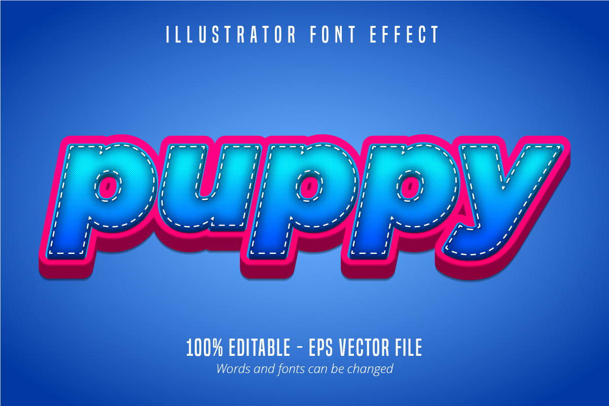 Download Free Puppy Text 3d Editable Font Effect Graphic By Mustafa Beksen for Cricut Explore, Silhouette and other cutting machines.