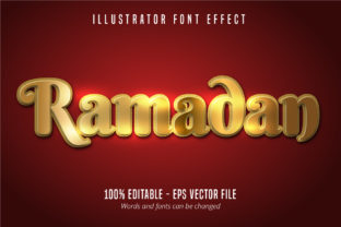 Download Free Ramadan Text Effect Shiny Gold Alphabet Graphic By Mustafa for Cricut Explore, Silhouette and other cutting machines.