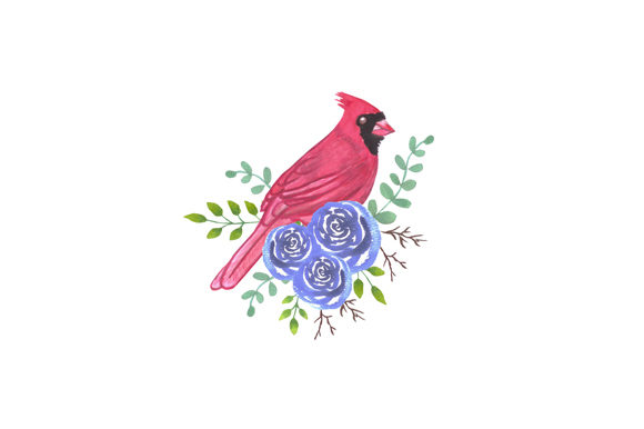 Download Free Red Cardinal Bird And Roses Graphic By Shawlin Creative Fabrica for Cricut Explore, Silhouette and other cutting machines.
