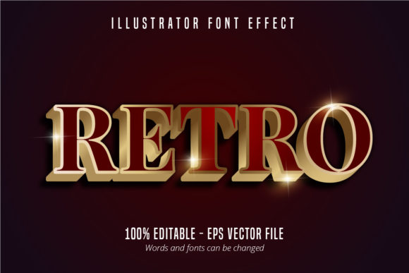Download Free Retro Red And Gold Color Text Effect Graphic By Mustafa Beksen for Cricut Explore, Silhouette and other cutting machines.
