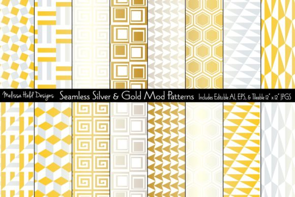 Seamless Silver & Gold Mod Patterns Graphic Patterns By Melissa Held Designs