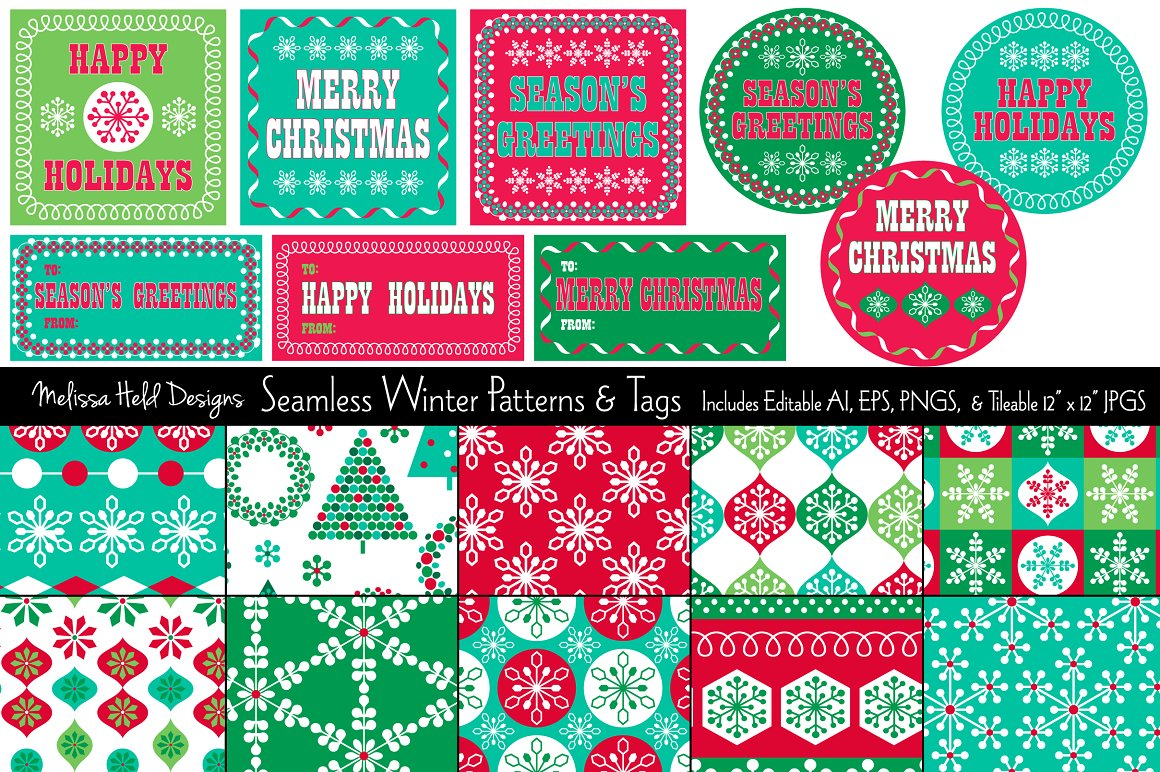 Download Free Seamless Winter Patterns Gift Tags Graphic By Melissa Held Designs Creative Fabrica for Cricut Explore, Silhouette and other cutting machines.