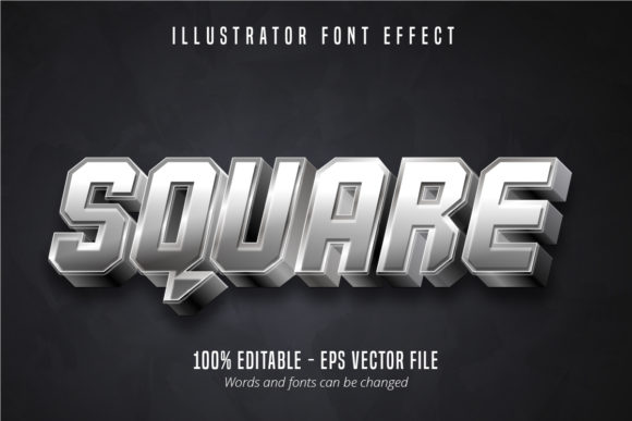 Print on Demand: Square Text, 3D Editable Font Effect Graphic Graphic Templates By Mustafa Bekşen