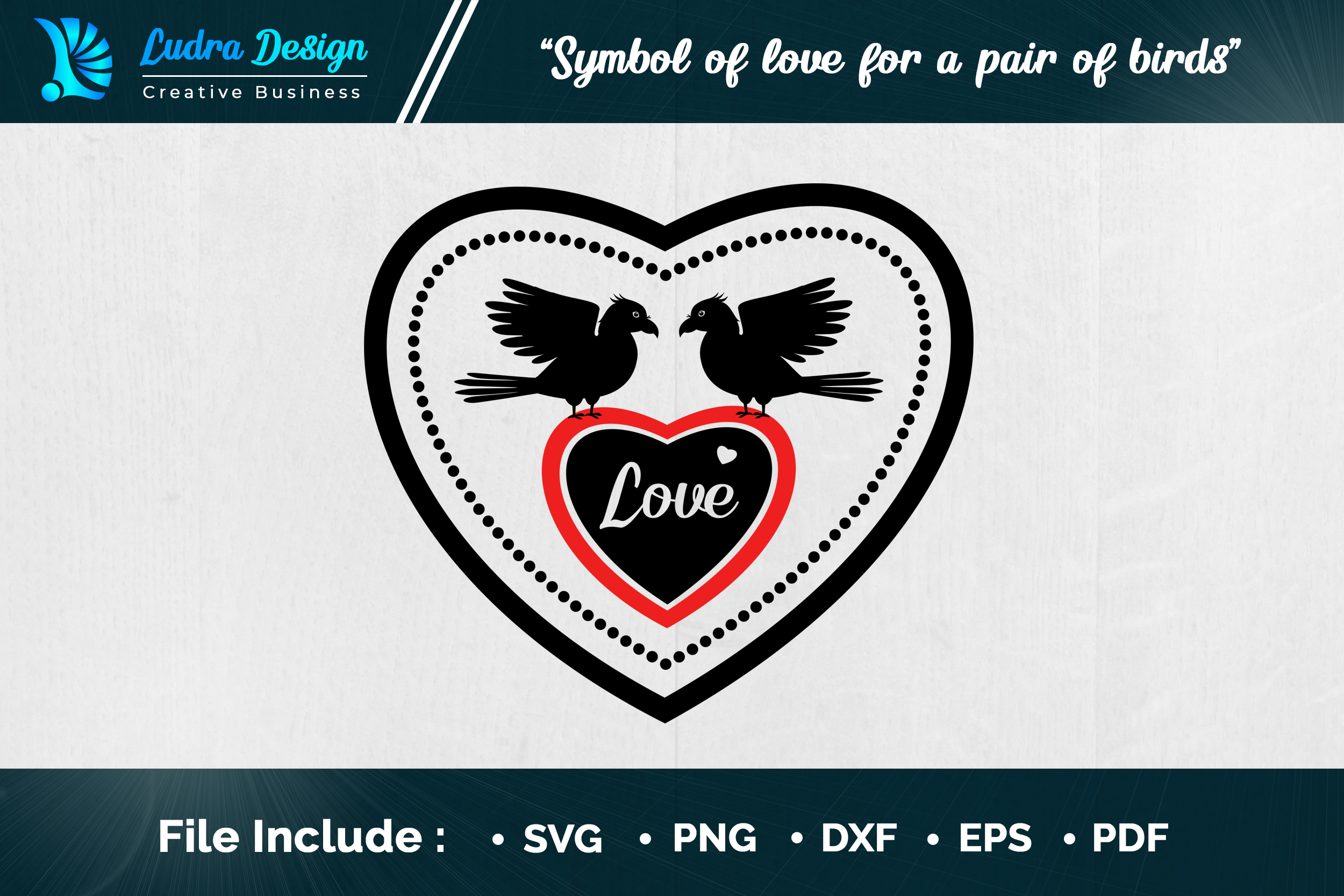 Download Free Symbol Of Love For A Pair Of Birds Graphic By Ludradesignmaker for Cricut Explore, Silhouette and other cutting machines.