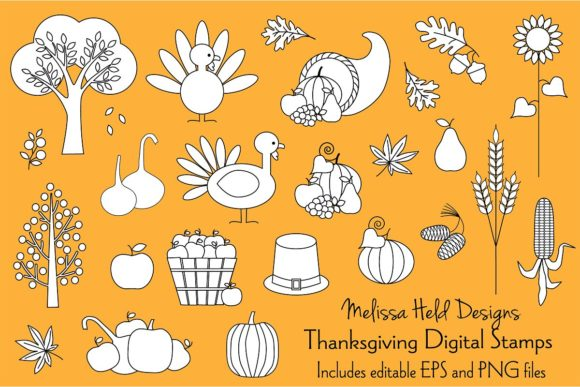 Download Free Thanksgiving Digital Stamps Clipart Graphic By Melissa Held for Cricut Explore, Silhouette and other cutting machines.