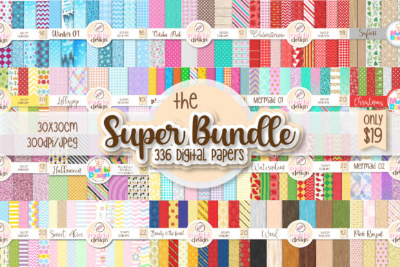 Print on Demand: The Super Digital Papers Bundle  By Mutchi Design