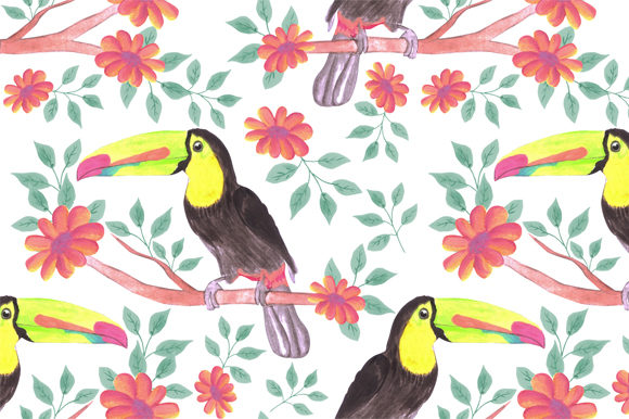 Download Free Toucan Bird Flower Background Graphic By Shawlin Creative Fabrica for Cricut Explore, Silhouette and other cutting machines.