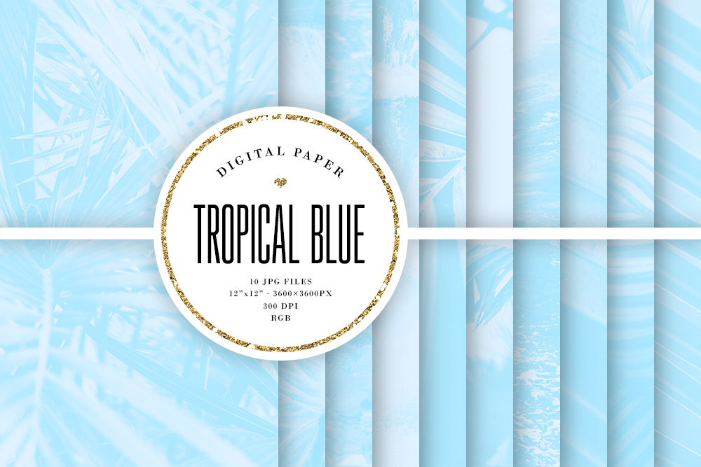 Download Free Tropical Digital Paper Blue Backgrounds Graphic By Sabina Leja Creative Fabrica for Cricut Explore, Silhouette and other cutting machines.