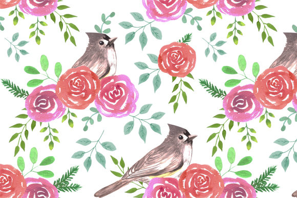 Tufted Titmouse and Roses Graphic Backgrounds By shawlin
