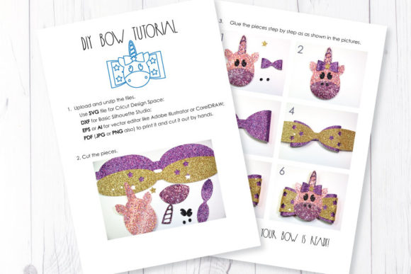 Download Free Unicorn Bow Template Graphic By Articuties Creative Fabrica for Cricut Explore, Silhouette and other cutting machines.