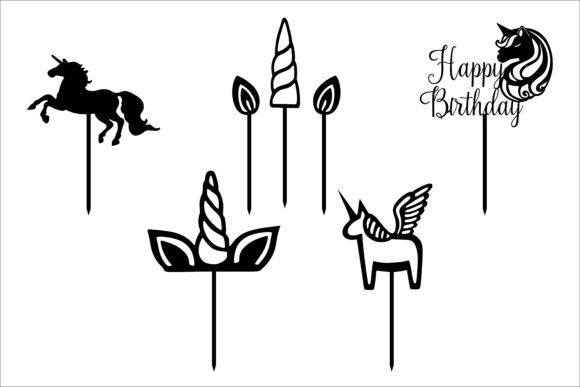 Unicorn Cake Topper Cut Files Graphic By Bn3300877 Creative