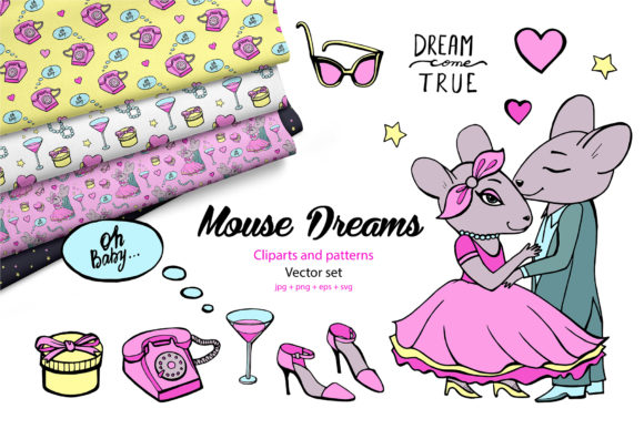 Download Free Vector Mouse Dreams Clipart Graphic By Natalimyastore Creative for Cricut Explore, Silhouette and other cutting machines.