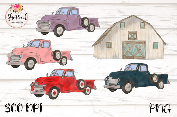 Print on Demand: Vintage Truck and Barn Clipart Set Graphic Illustrations By ShePixel