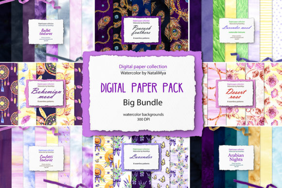 Watercolor Digital Papers and Textures  By NataliMyaStore