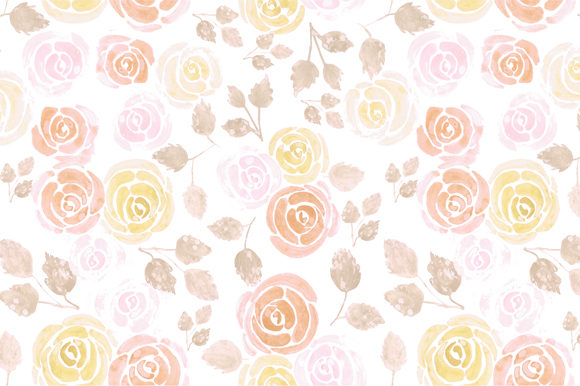 Watercolor Roses Warm Colors Graphic Backgrounds By shawlin