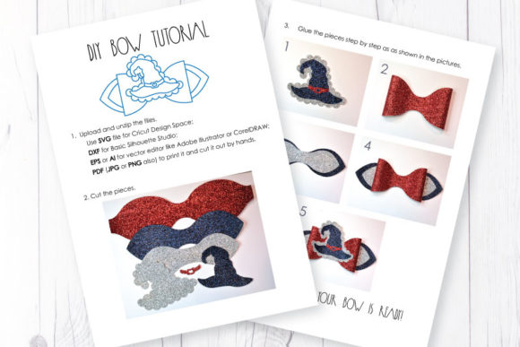 Download Free Witch Hat Bow Template Graphic By Articuties Creative Fabrica for Cricut Explore, Silhouette and other cutting machines.