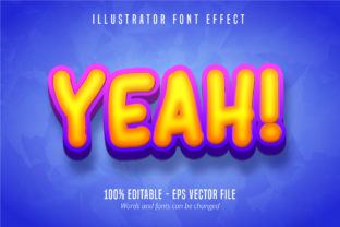 Print on Demand: Yeah! Text, 3D Editable Font Effect Graphic Graphic Templates By Mustafa Bekşen