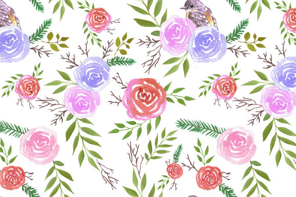 Yellow Robins and Roses Graphic Backgrounds By shawlin