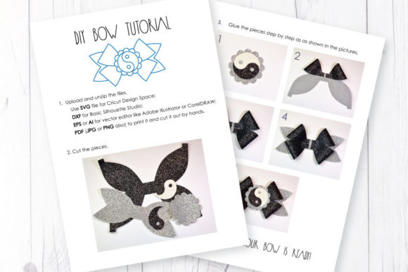 Download Free Yin Yang Bow Template Graphic By Articuties Creative Fabrica for Cricut Explore, Silhouette and other cutting machines.