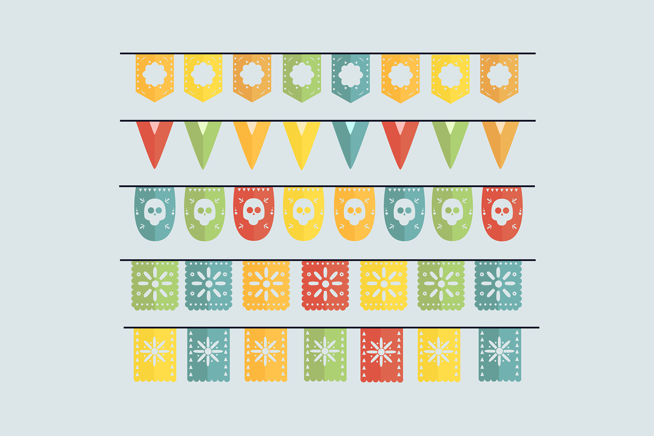 Download Free Cinco De Mayo Mexican Bunting Collection Graphic By Aprlmp276 for Cricut Explore, Silhouette and other cutting machines.