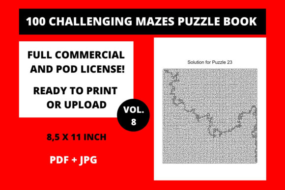 Print on Demand: 100 Challenging Mazes Puzzle Book Vol8 Graphic KDP Interiors By Fleur de Tango