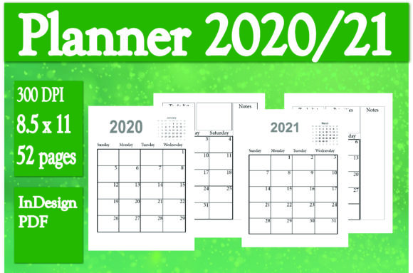 Download Free 2 Years Planner 2020 21 Graphic By Ivana Prue Creative Fabrica for Cricut Explore, Silhouette and other cutting machines.