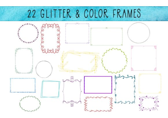 Print on Demand: 22 Thin Decorative Glitter Frames Graphic Illustrations By CapeAirForce