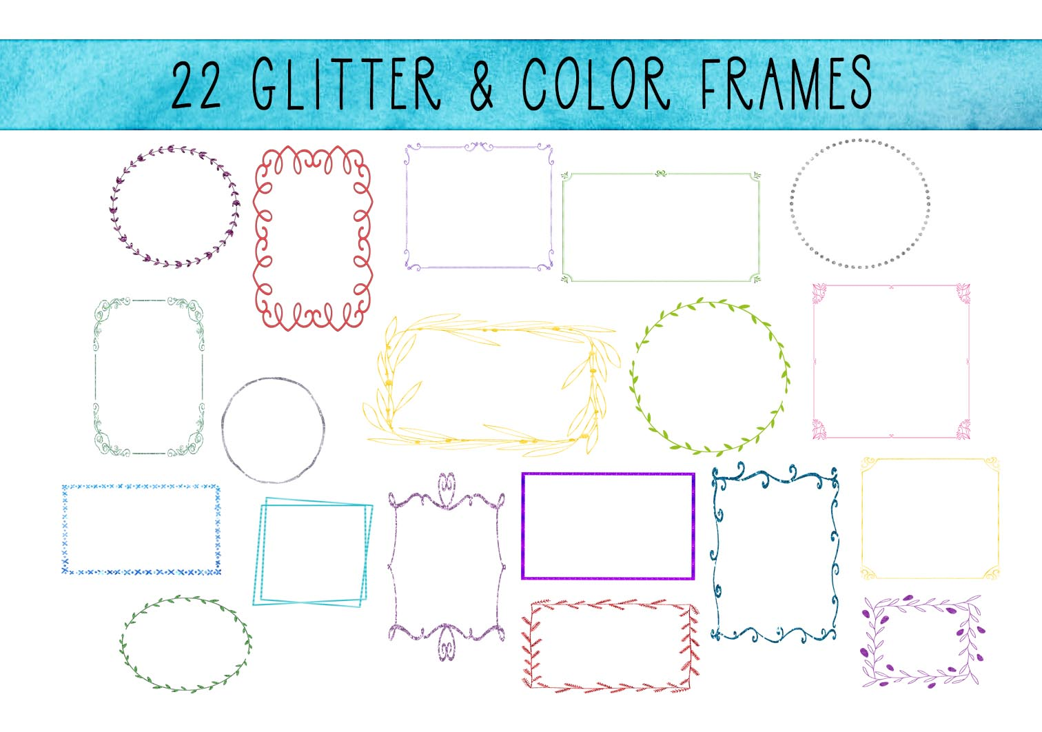 Download Free 22 Thin Decorative Glitter Frames Graphic By Capeairforce for Cricut Explore, Silhouette and other cutting machines.