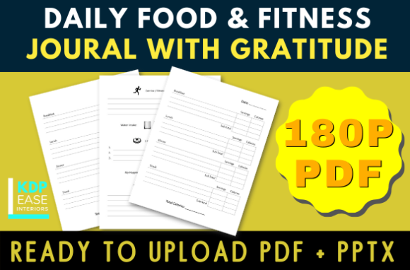 Download Free 90 Days Food Journal With Gratitude Graphic By Kdp Ease for Cricut Explore, Silhouette and other cutting machines.