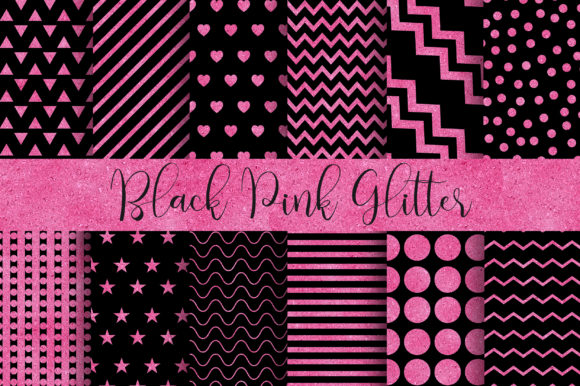 Black Pink Glitter Digital Papers Graphic Backgrounds By PinkPearly