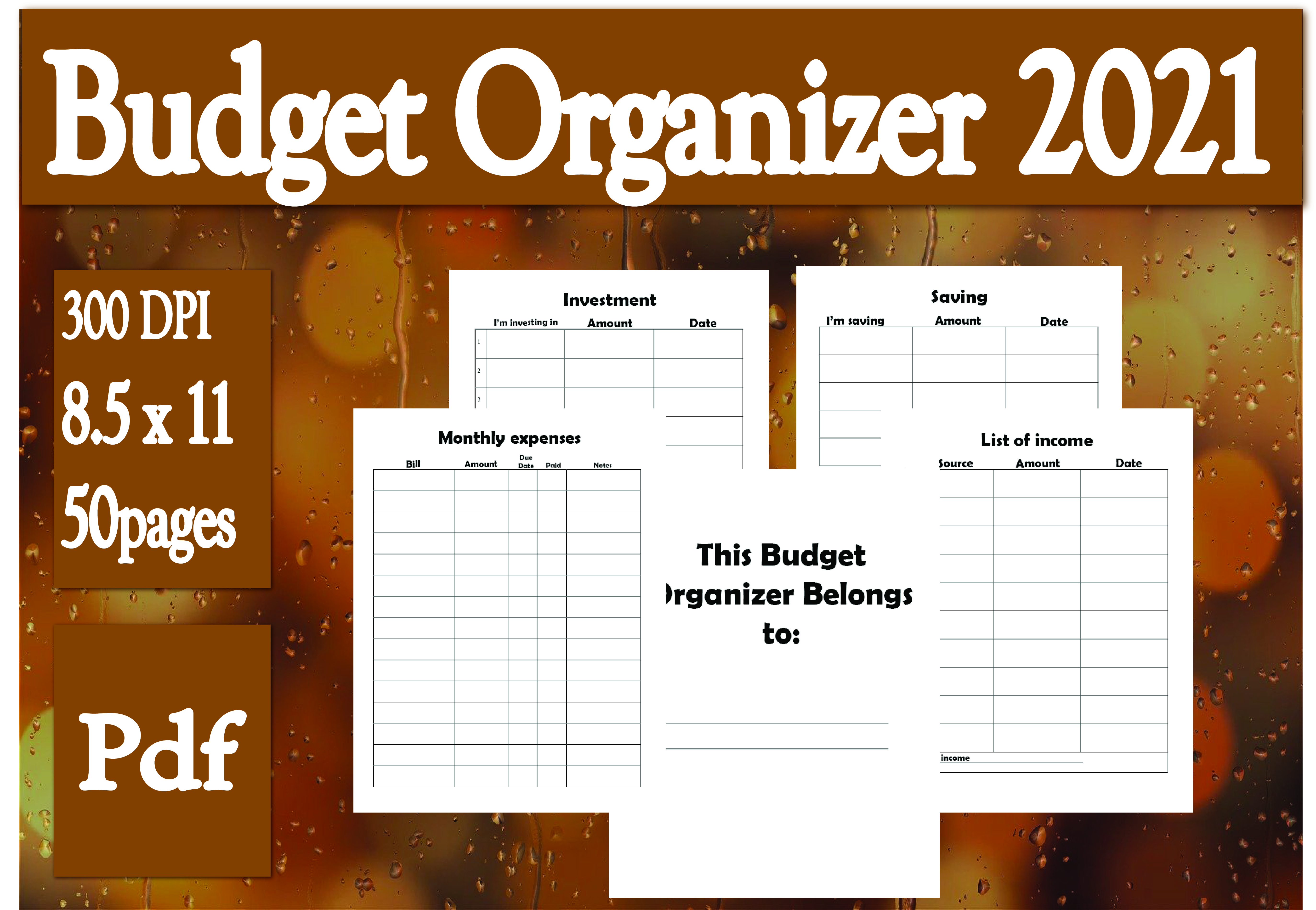 Download Free Budget Organizer 2021 Graphic By Ivana Prue Creative Fabrica for Cricut Explore, Silhouette and other cutting machines.