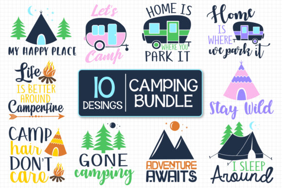Download Free 24 Happy Camper Designs Graphics for Cricut Explore, Silhouette and other cutting machines.