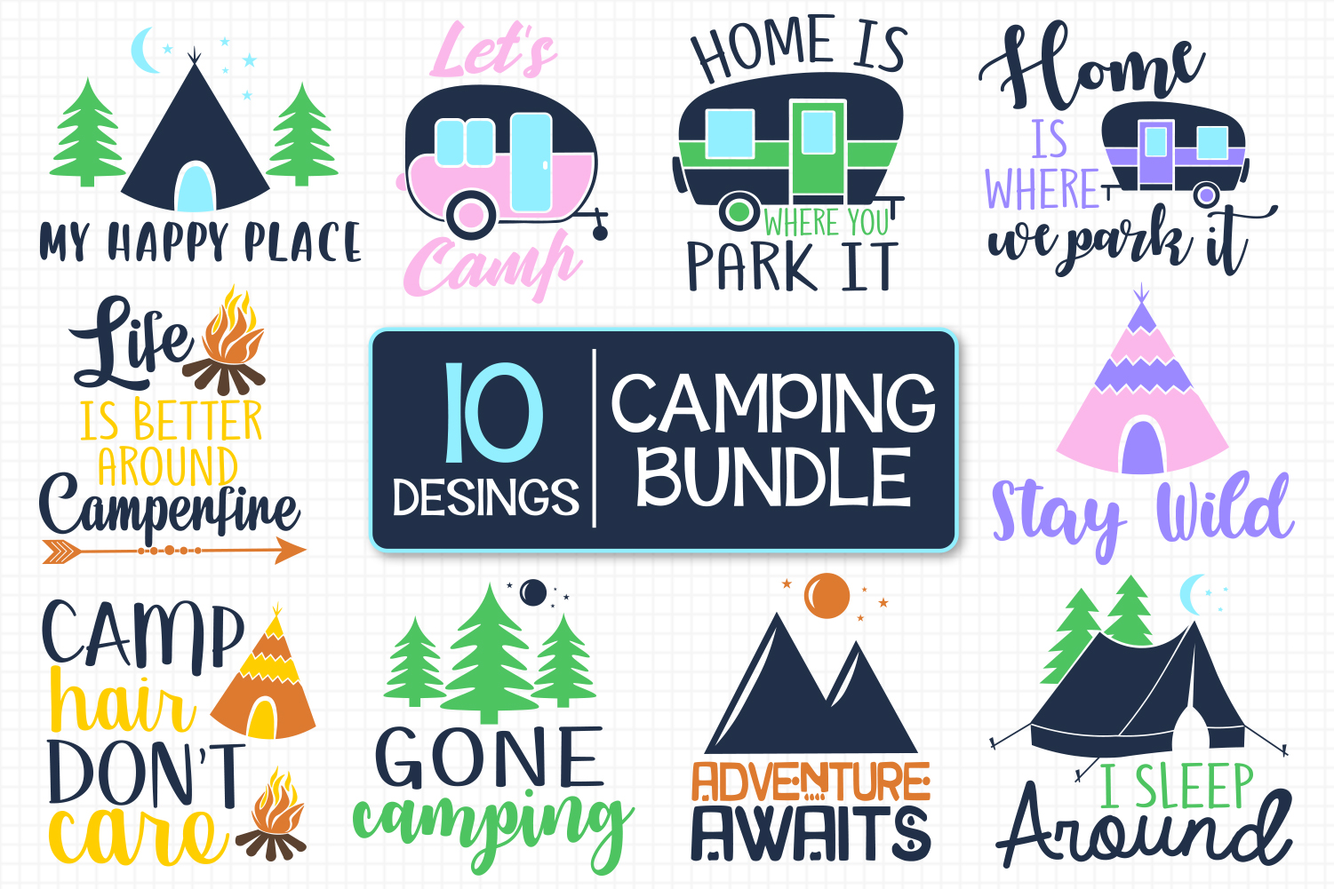 Camping Colorful Bundle Graphic By All About Svg Creative Fabrica