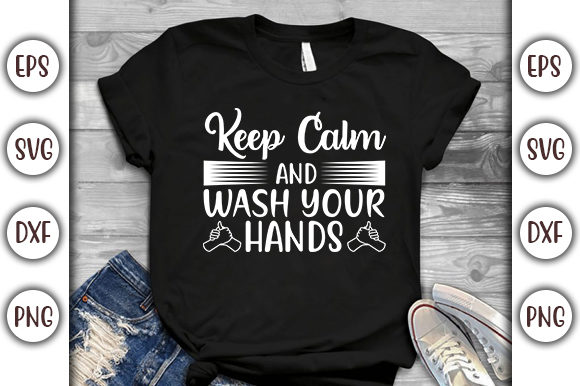 Print on Demand: Corona Virus Design, Keep Calm and Wash Graphic Print Templates By GraphicsBooth
