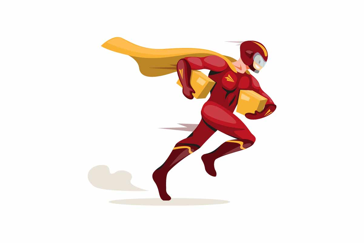 Download Free Courier Express Mascot Superhero Vector Graphic By Aryo Hadi for Cricut Explore, Silhouette and other cutting machines.