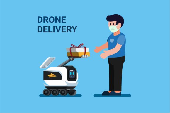 Download Free Drone Giving Package To Customer Robot Graphic By Aryo Hadi Creative Fabrica for Cricut Explore, Silhouette and other cutting machines.