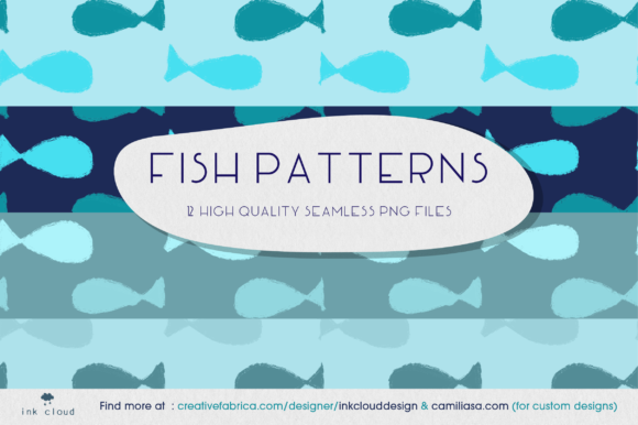Download Free Fish Pattern Seamless Illustration Sea Graphic By Inkclouddesign Creative Fabrica for Cricut Explore, Silhouette and other cutting machines.