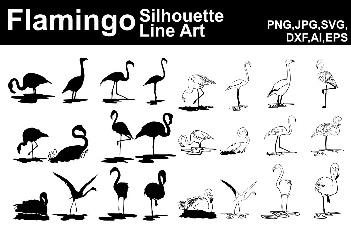 Download Free Flamingo Silhouette And Line Art Bundle Bundle Creative Fabrica for Cricut Explore, Silhouette and other cutting machines.