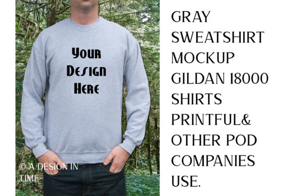 Print on Demand: Gray Sweatshirt Mockup Gildan 18000 Graphic Product Mockups By A Design in Time