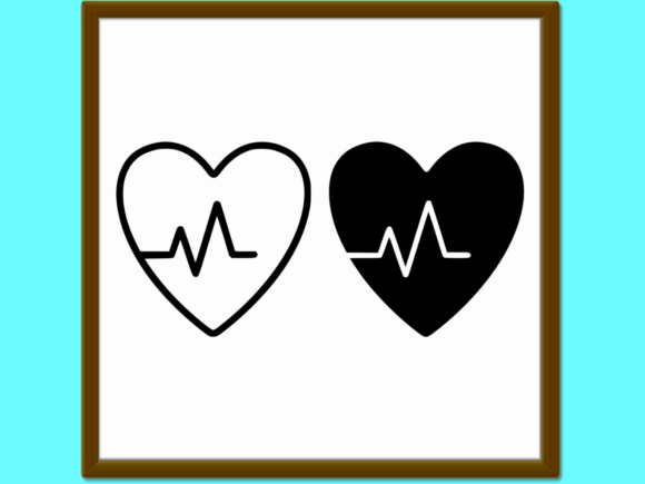 Print on Demand: Heartbeat Line and Glyph Icon Cardiogram Graphic Icons By anrasoft