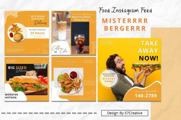 Instgram Feed Tamplate - Food Burger Graphic Presentation Templates By 57creative