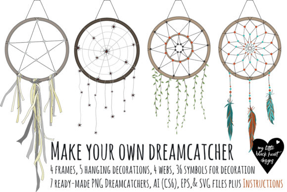 Download Free Make Your Own Dreamcatcher Graphic By My Little Black Heart for Cricut Explore, Silhouette and other cutting machines.