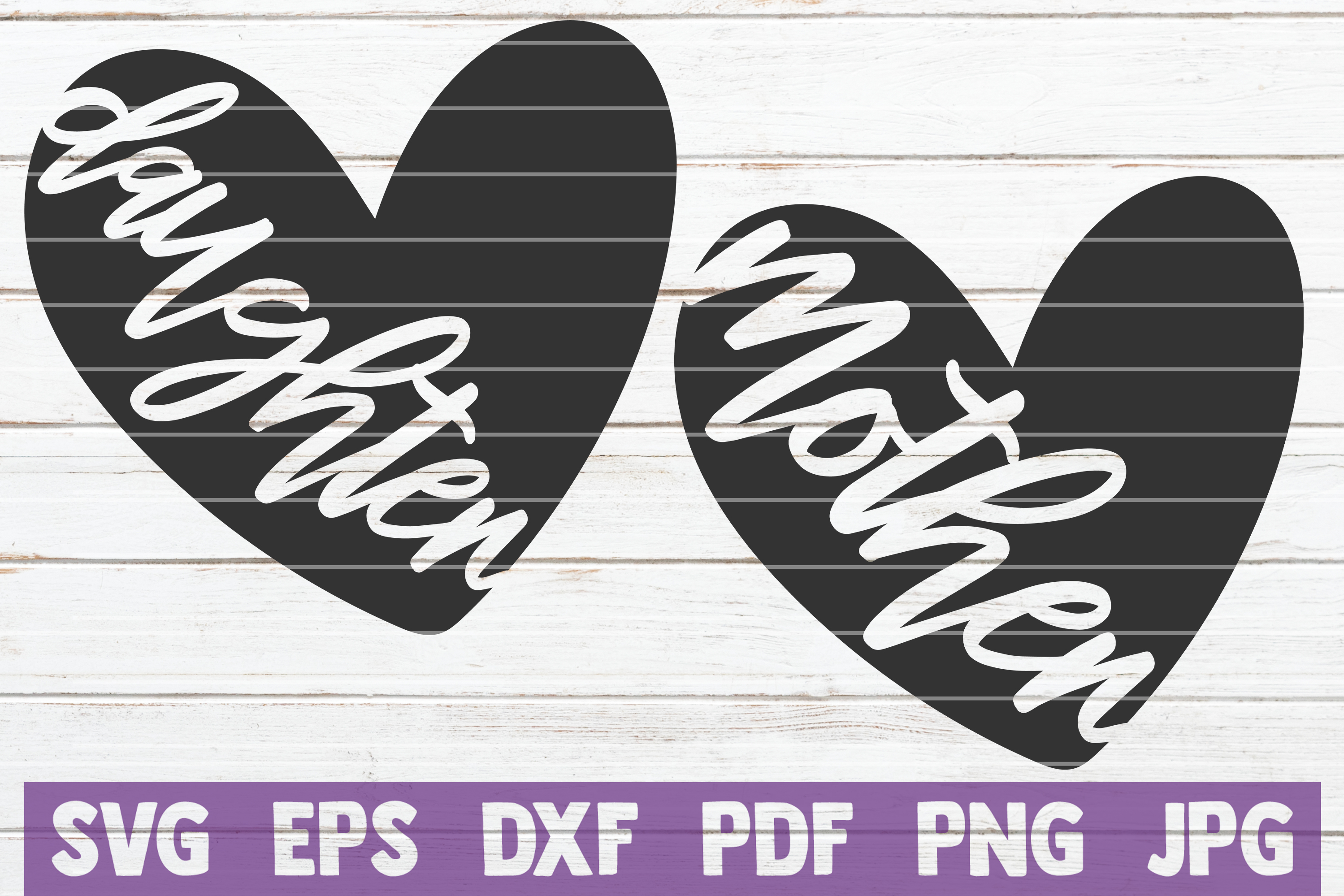 Download Free Mother Daughter Matching Heart Graphic By Mintymarshmallows for Cricut Explore, Silhouette and other cutting machines.