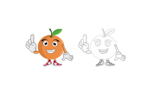 Download Free Orange Fruit Cartoon Character Graphic By Printablesplazza for Cricut Explore, Silhouette and other cutting machines.