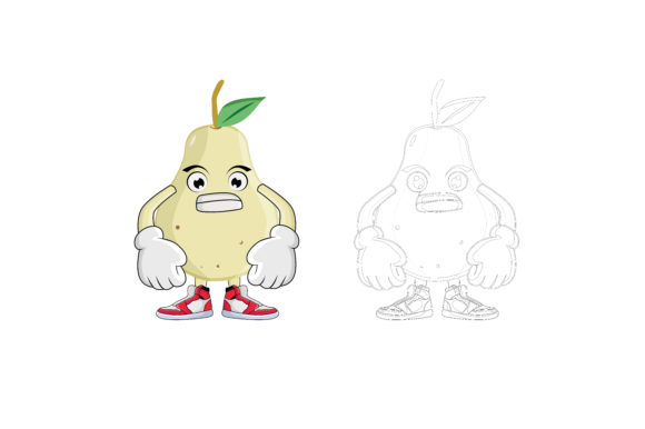 Download Free Pear Fruit Cartoon Character Graphic By Printablesplazza for Cricut Explore, Silhouette and other cutting machines.