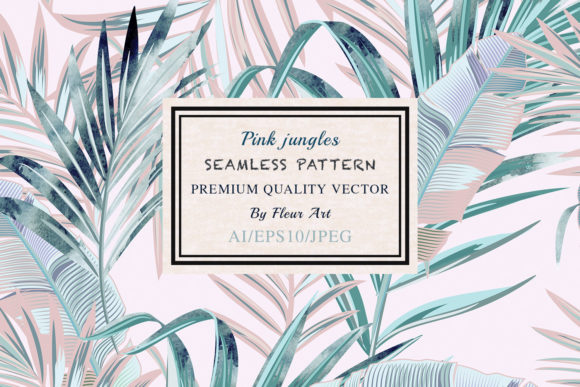 Pink Jungle Vector Seamless Pattern Graphic Patterns By fleurartmariia